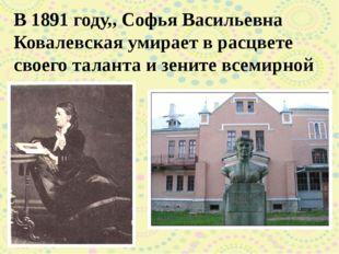 В 1891 году,, Софья Васильевна Ковалевская умирает в расцвете своего таланта
