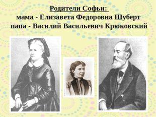 Родители Софьи: мама - Елизавета Федоровна Шуберт папа - Василий Васильевич К