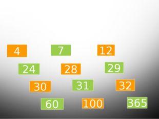Какое число лишнее? 4 24 30 60 7 28 31 100 12 29 32 365