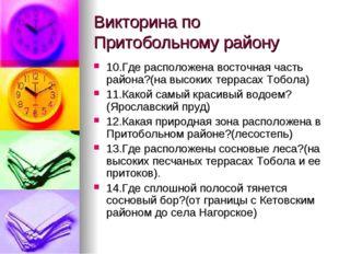 Викторина по Притобольному району 10.Где расположена восточная часть района?(