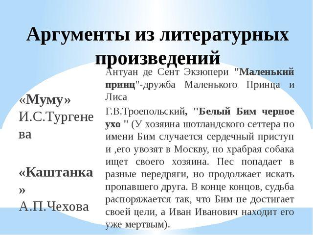 Аргументы из литературных произведений «Муму» И.С.Тургенева «Каштанка» А.П.Че...