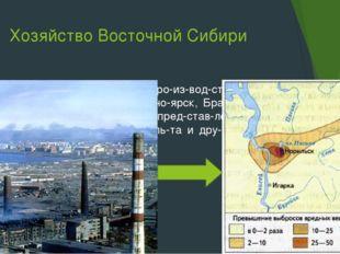 Хозяйство Восточной Сибири Около ГЭС размещается производство алюмин