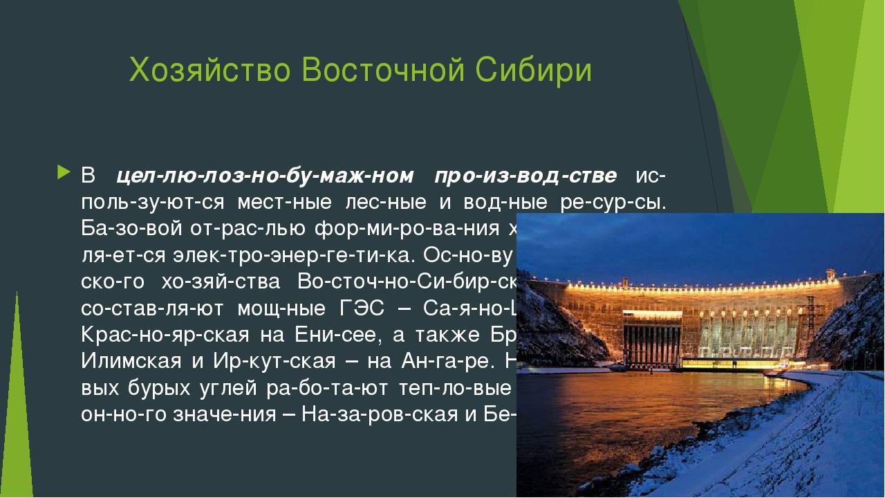 Хозяйство Восточной Сибири В целлюлозно-бумажном производстве исполь...