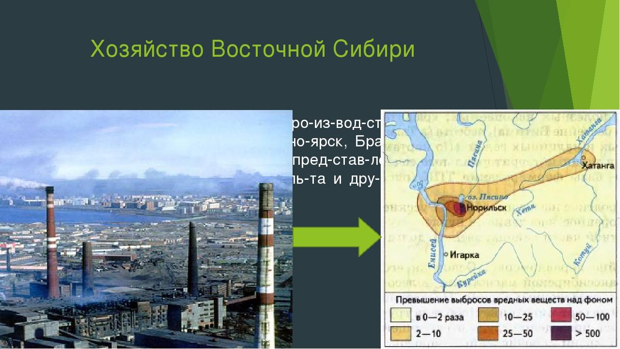 Хозяйство Восточной Сибири Около ГЭС размещается производство алюмин...
