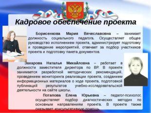 Кадровое обеспечение проекта Борисенкова Мария Вячеславовна – занимает должно
