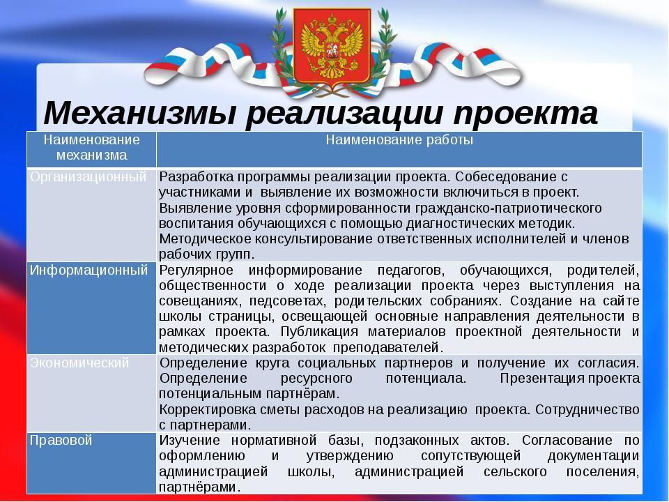 Механизмы реализации проекта Наименование механизма Наименование работы Орган...
