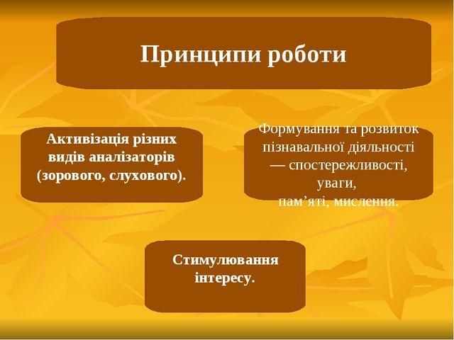 Принципи роботи Активізація різних видів аналізаторів (зорового, слухового)....