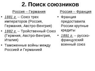 2. Поиск союзников Россия – Германия 1881 г. – Союз трех императоров (Россия,