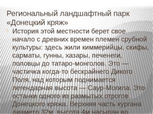 Региональный ландшафтный парк «Донецкий кряж» История этой местности берет св