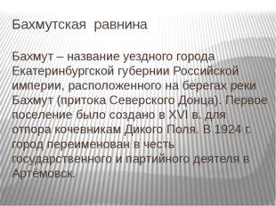 Бахмутская равнина Бахмут – название уездного города Екатеринбургской губерни