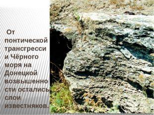 От понтической трансгрессии Чёрного моря на Донецкой возвышенности остались