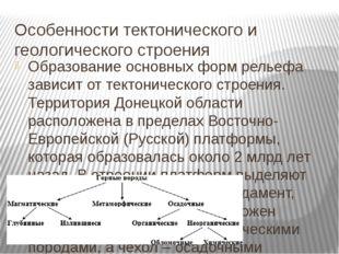 Особенности тектонического и геологического строения Образование основных фор
