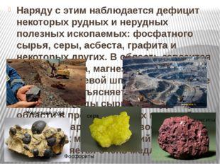 Наряду с этим наблюдается дефицит некоторых рудных и нерудных полезных ископ