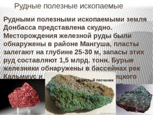 Рудные полезные ископаемые Рудными полезными ископаемыми земля Донбасса пред
