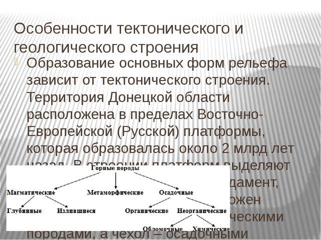 Особенности тектонического и геологического строения Образование основных фор...