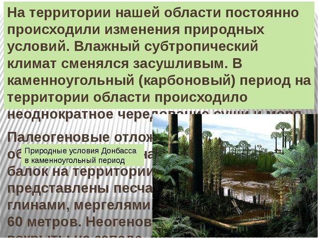 На территории нашей области постоянно происходили изменения природных условий...