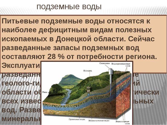 подземные воды Питьевые подземные воды относятся к наиболее дефицитным видам...