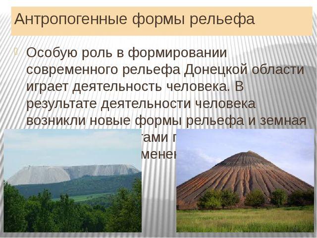 Антропогенные формы рельефа Особую роль в формировании современного рельефа Д...