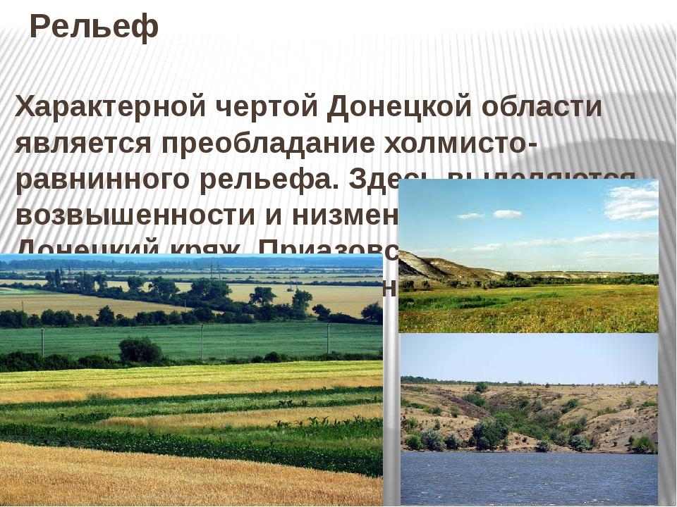 Рельеф Характерной чертой Донецкой области является преобладание холмисто- ра...