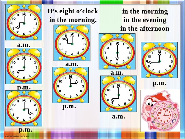 a.m. in the morning in the evening in the afternoon It's eight o'clock in the...
