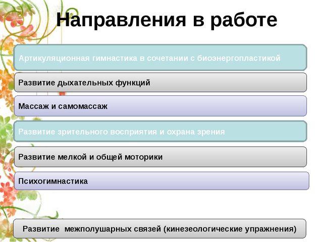 Направления в работе Театрально - игровая деятельность Кинезеологические упра...