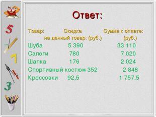 Ответ: Товар:  Скидка Сумма к оплате: на данный товар: (руб.) (руб.) Шуба 5
