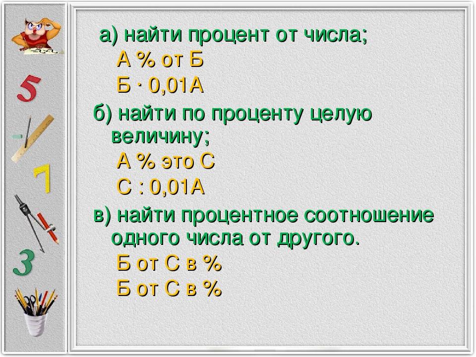 а) найти процент от числа; А % от Б Б ∙ 0,01А б) найти по проценту целую вел...
