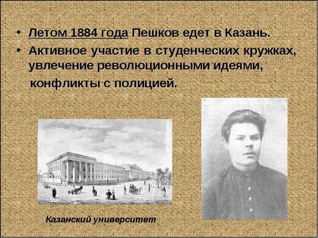 Летом 1884 года Пешков едет в Казань. Активное участие в студенческих кружках...