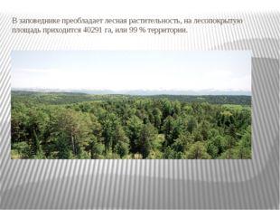 В заповеднике преобладает лесная растительность, на лесопокрытую площадь прих