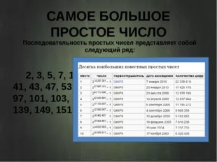 САМОЕ БОЛЬШОЕ ПРОСТОЕ ЧИСЛО Последовательность простых чисел представляет соб