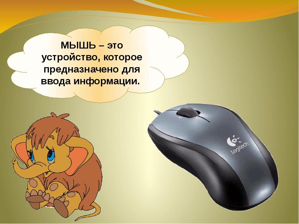 МЫШЬ – это устройство, которое предназначено для ввода информации.