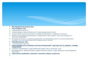 Метапредметные результаты: Регулятивные УУД Обучающийся научится: Организовыв