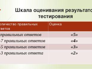 Шкала оценивания результатов тестирования Количество правильных ответов Оценк