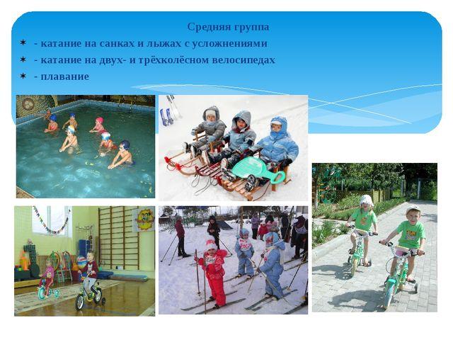 Средняя группа - катание на санках и лыжах с усложнениями - катание на двух-...