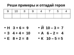 Н 3 + 6 = 9 З 4 + 4 = 10 Е 8 + 2 = 8 Й 10 – 3 = 7 А 6 – 2 = 4 К 10 – 5 = 5 Ре