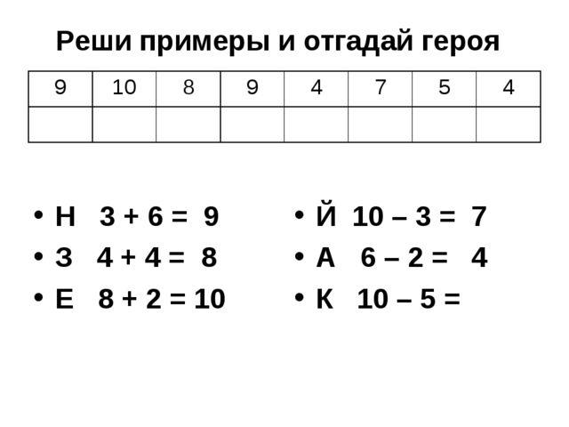 Н 3 + 6 = 9 З 4 + 4 = 8 Е 8 + 2 = 10 Й 10 – 3 = 7 А 6 – 2 = 4 К 10 – 5 = Реши...