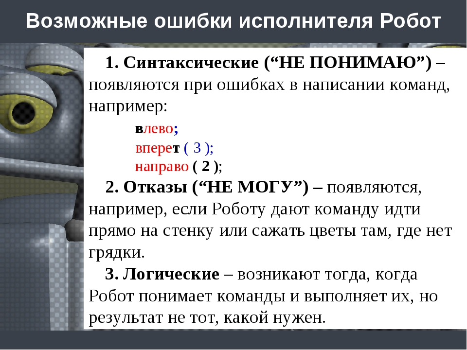 """Возможные ошибки исполнителя Робот 1. Синтаксические (""""НЕ ПОНИМАЮ"""") – появляю..."""