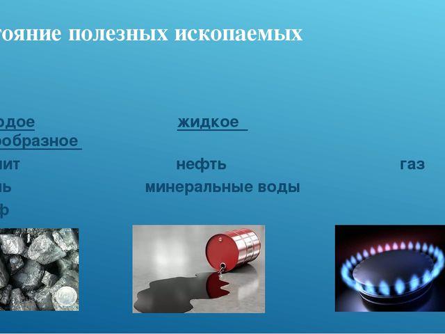 Состояние полезных ископаемых Твердое жидкое газообразное гранит нефть газ уг...