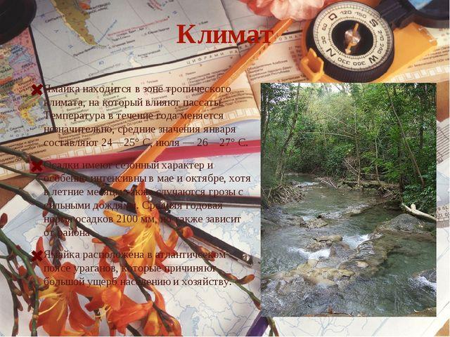 Климат Ямайка находится в зоне тропического климата, на который влияют пассат...