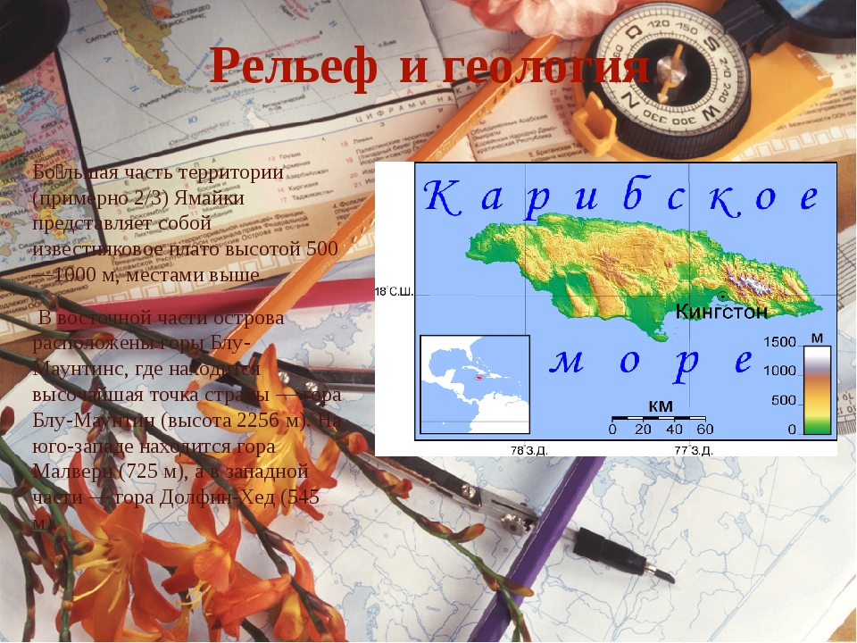 Рельеф и геология Бо́льшая часть территории (примерно 2/3) Ямайки представляе...