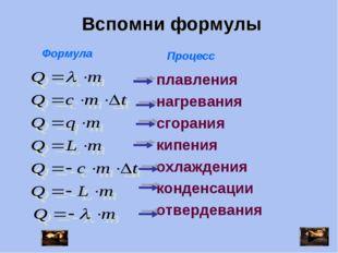 Формула Процесс плавления нагревания сгорания кипения охлаждения конденсации