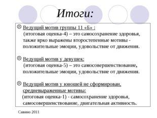 Итоги: Ведущий мотив группы 11 «Б» : (итоговая оценка-4) – это самосохранение