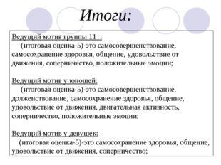 Ведущий мотив группы 11 : (итоговая оценка-5)-это самосовершенствование, само