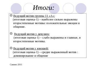 Итоги: Ведущий мотив группы 11 «А»: (итоговая оценка-1) – наиболее сильно выр