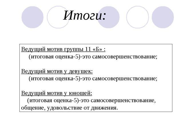 Ведущий мотив группы 11 «Б» : (итоговая оценка-5)-это самосовершенствование;...