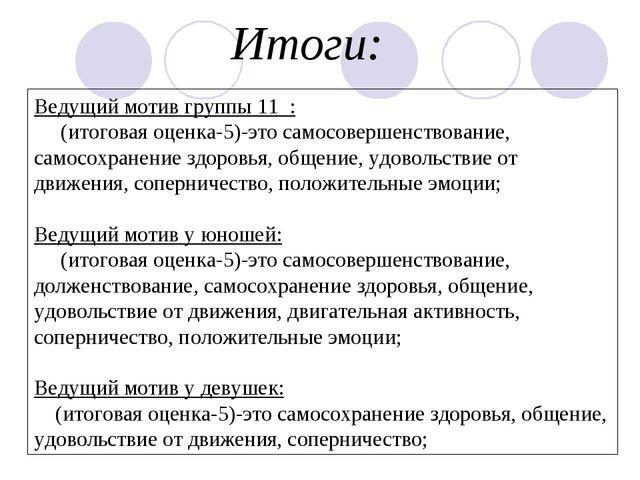 Ведущий мотив группы 11 : (итоговая оценка-5)-это самосовершенствование, само...