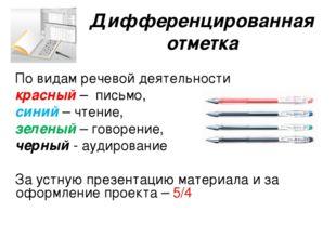 Дифференцированная отметка По видам речевой деятельности красный – письмо, си