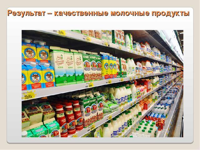 Результат – качественные молочные продукты