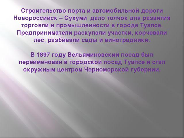 Строительство порта и автомобильной дороги Новороссийск – Сухуми дало толчок...