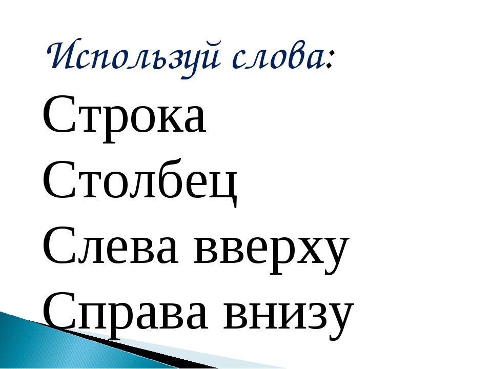 Используй слова: Строка Столбец Слева вверху Справа внизу
